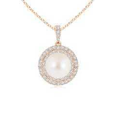 Freshwater Cultured Pearl and Diamond Double Halo Pendant