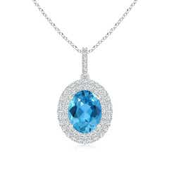 Oval Swiss Blue Topaz Dangle Pendant with Diamond Double Halo
