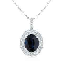GIA Certified Oval Sapphire Dangle Pendant with Double Halo