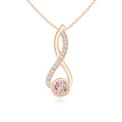 Infinity Twist Bezel Set Morganite Solitaire Pendant with Diamond