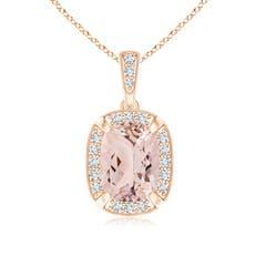 Cushion Morganite Pendant with Diamond Halo and Milgrain