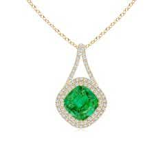 GIA Certified Colombian Emerald Pendant with Inverted V-Bale