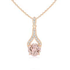 Morganite and Diamond Wishbone Pendant