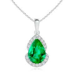 Pear GIA Certified Emerald Drop Pendant with Diamond Halo