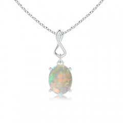 Angara Shell Style Oval Opal and Diamond Pendant 4w54bo7g