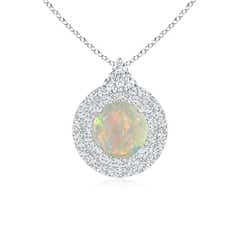 Round Opal and Diamond Double Halo Pendant