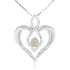 Opal Infinity Heart Pendant with Diamond Accents