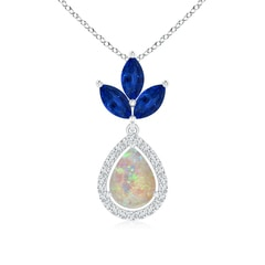 Floating Pear Opal and Diamond Halo Pendant with Marquise Sapphires