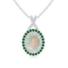 Oval Opal Double Halo Pendant with Diamond and Tsavorite