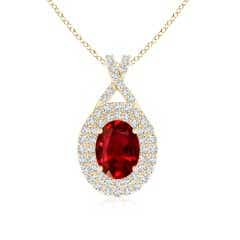 GIA Certified Oval Ruby Double Halo Pendant