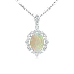 Scalloped Frame Oval Opal and Diamond Halo Pendant