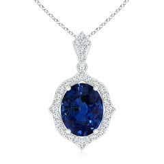 Scalloped Frame GIA Certified Sapphire Halo Pendant