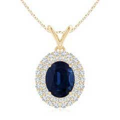 GIA Certified Oval Sapphire Pendant with Double Diamond Halo