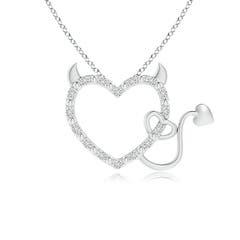 Diamond Devil Heart Pendant