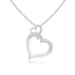 Angara Diamond Interlocking Heart Dangle Pendant xVYcD