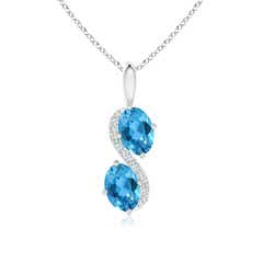 Two Stone Oval Swiss Blue Topaz Bypass Pendant with Diamonds