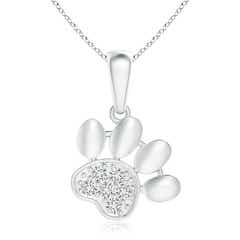 Pave-Set Diamond Paw Print Pendant