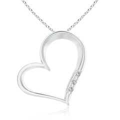 Tilted Round Diamond Ribbon Heart Pendant