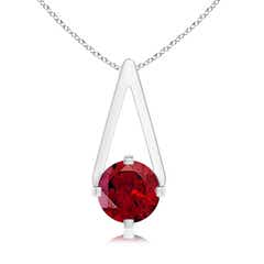 Flat Prong-Set Solitaire Garnet Triangular Pendant