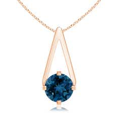 Flat Prong-Set Solitaire London Blue Topaz Triangular Pendant