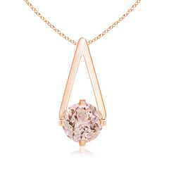 Flat Prong-Set Solitaire Morganite Triangular Pendant