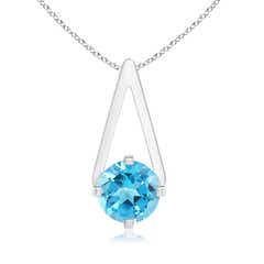 Flat Prong-Set Solitaire Swiss Blue Topaz Triangle Pendant