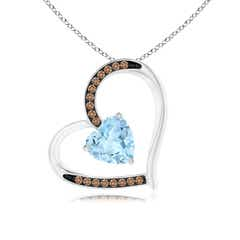 Aquamarine and Coffee Diamond Tilted Heart Pendant