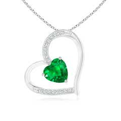 Emerald and Diamond Tilted Heart Pendant