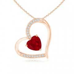 Ruby and Diamond Tilted Heart Pendant