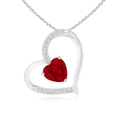 Solitaire Ruby Tilted Heart Pendant with Pave Diamonds