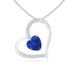 Sapphire and Diamond Tilted Heart Pendant
