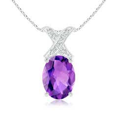 Oval Amethyst XO Pendant with Diamonds
