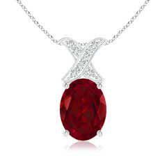 Solitaire Oval Garnet and Diamond XO Pendant