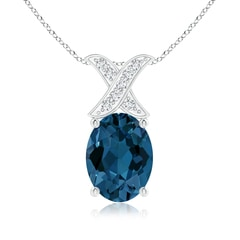 London Blue Topaz and Diamond XO Pendant