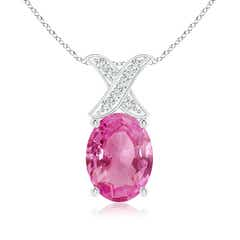 Solitaire Oval Pink Sapphire and Diamond XO Pendant