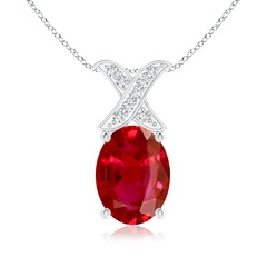Oval Ruby XO Pendant with Diamonds