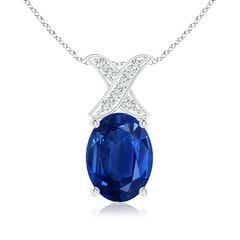 Solitaire Oval Sapphire and Diamond XO Pendant