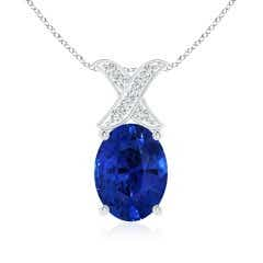 GIA Certified Sri Lankan Sapphire XO Pendant with Diamonds
