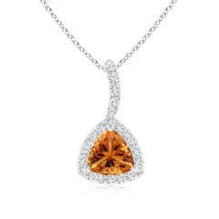 Trillion Citrine Halo Pendant with Curved Bale