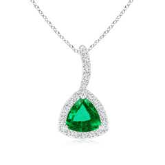 Trillion Emerald Halo Pendant with Curved Bale