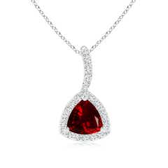 Trillion Garnet Halo Pendant with Curved Bale