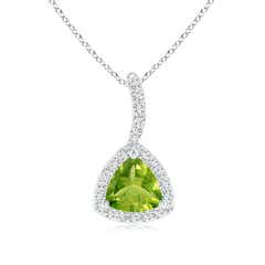 Trillion Peridot Halo Pendant with Curved Bale