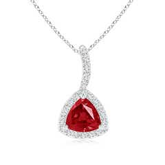 Trillion Ruby Halo Pendant with Curved Bale