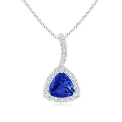 Trillion Tanzanite Halo Pendant with Curved Bale