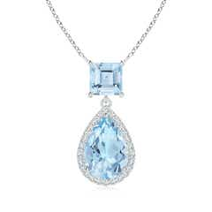 Square and Pear Aquamarine Pendant with Diamond Halo