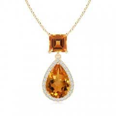 Square and Pear Citrine Pendant with Diamond Halo