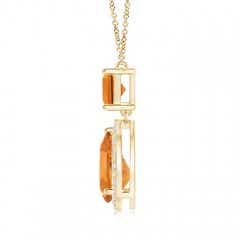 Toggle Square and Pear Citrine Pendant with Diamond Halo