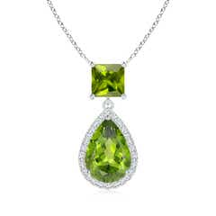 Square and Pear Peridot Pendant with Diamond Halo