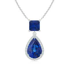 Square and Pear Sapphire Pendant with Diamond Halo