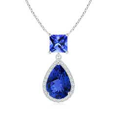 Square and Pear Tanzanite Pendant with Diamond Halo